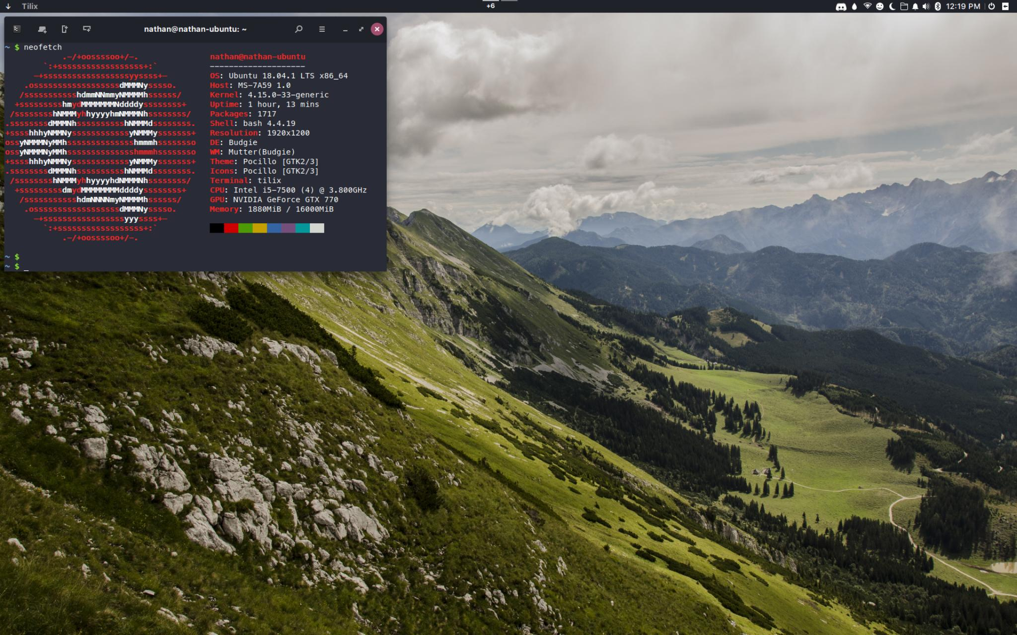 desktop screenshot with wallpaper and terminal