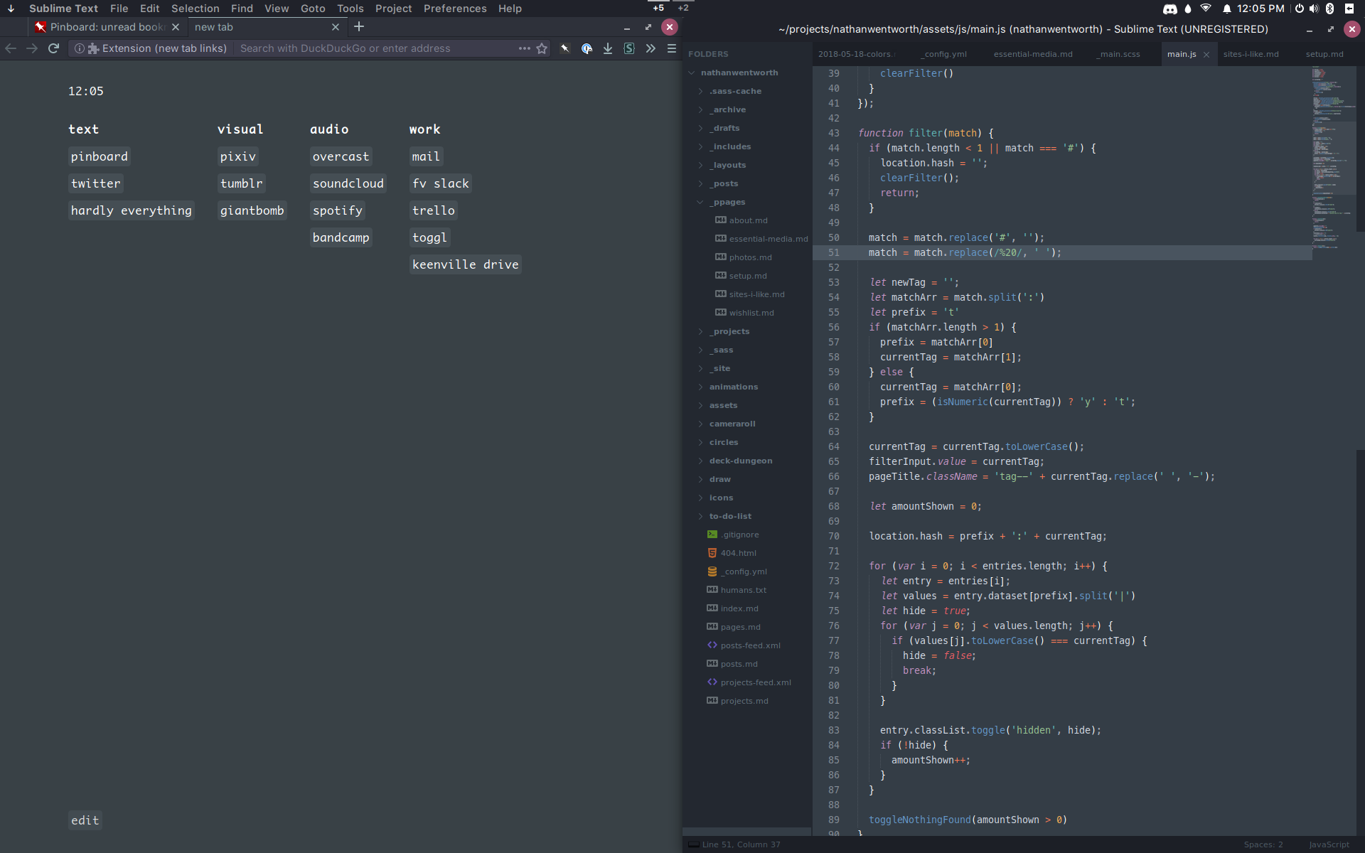 desktop screenshot with firefox and sublime text