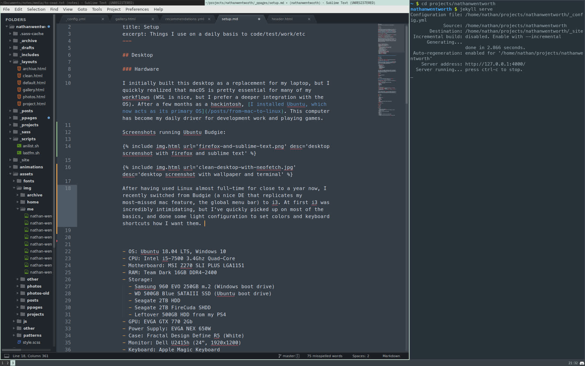 screenshot of sublime text and a terminal