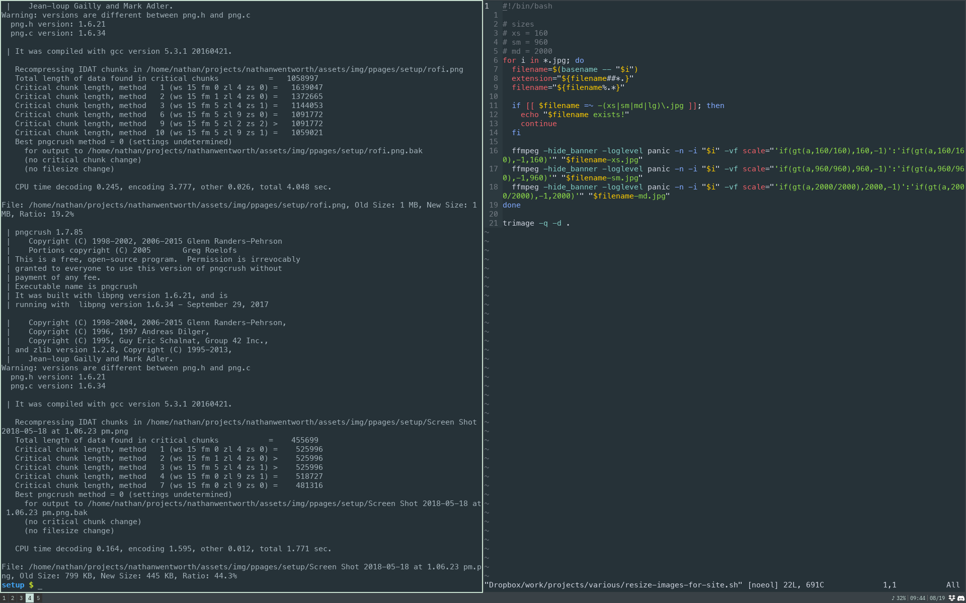 output of trimage and vim