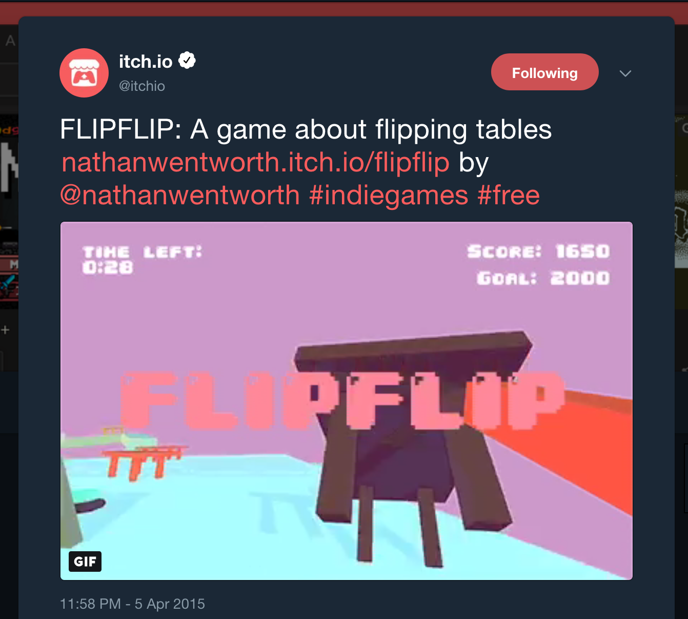 itch.io tweet