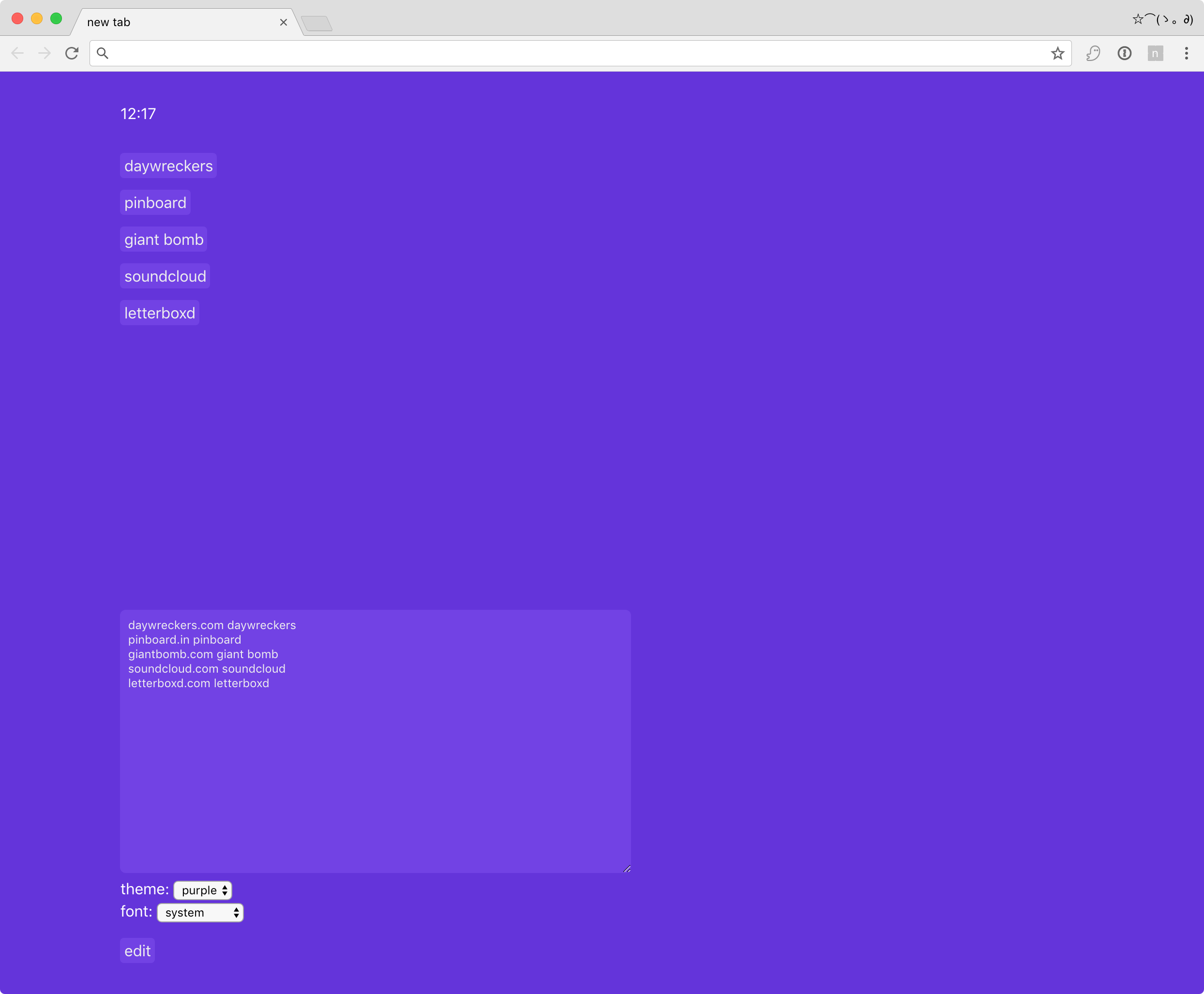 Screenshot with purple theme