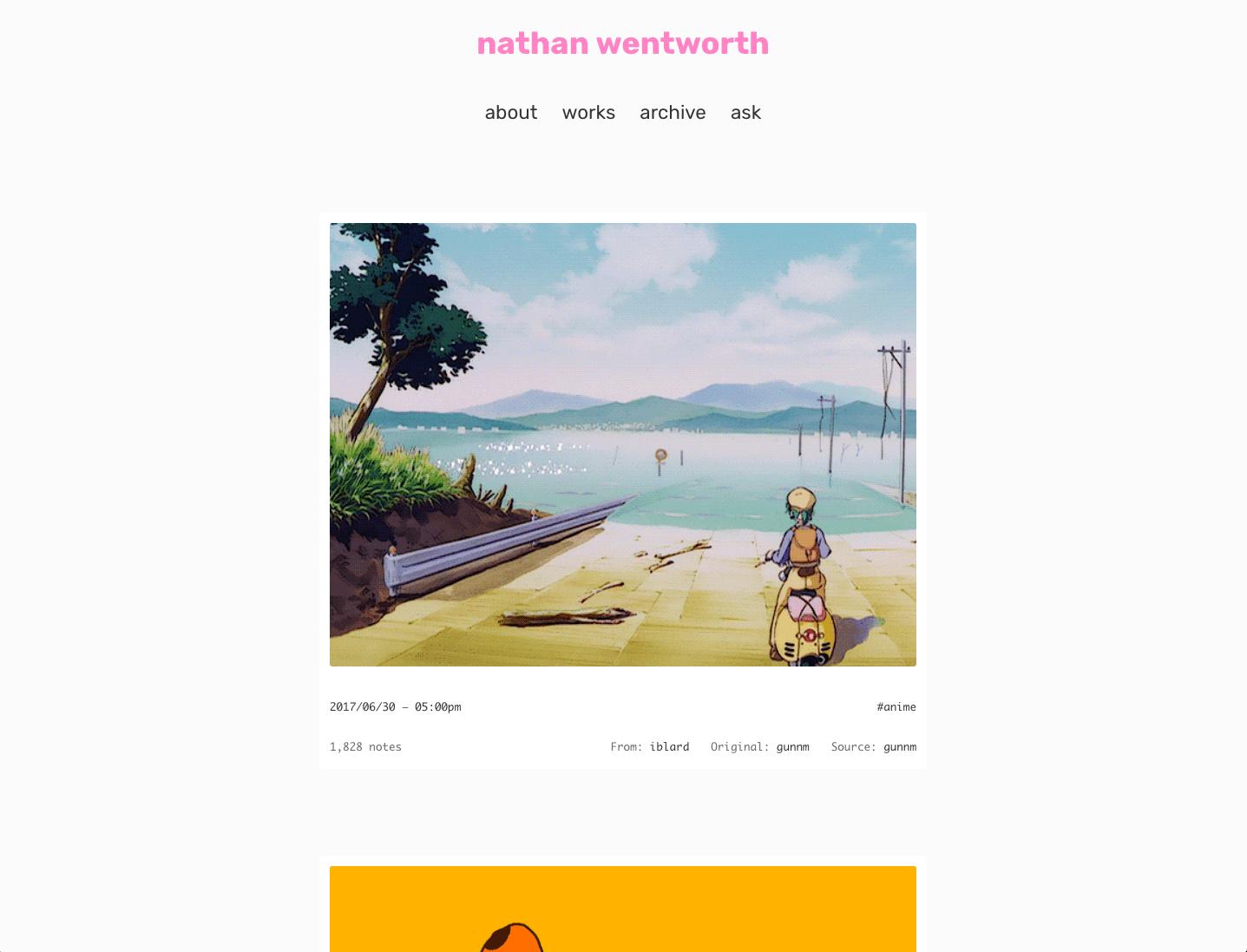 minimal mono Tumblr theme — nathan wentworth ✨